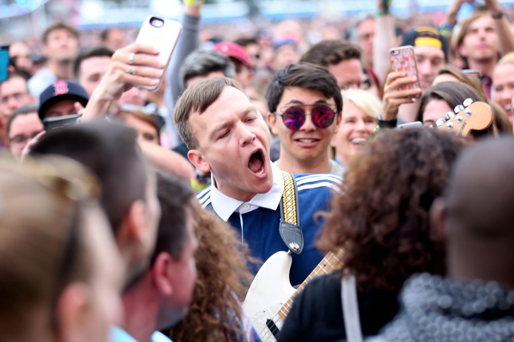 Cage the Elephant guitarist Brad Shultz leaps into the crowd. (Hadley Green for WBUR)