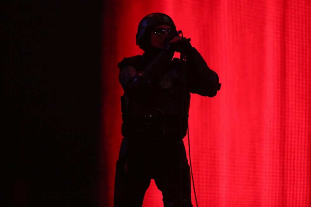 Maynard James Keenan, of Tool, on stage Sunday night. (Hadley Green for WBUR)