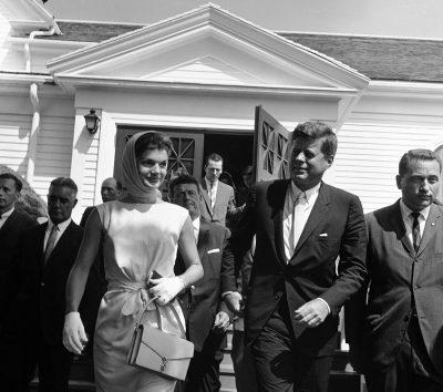 President John F. Kennedy and wife Jacqueline leave St. Francis church after attending mass at Hyannis Port, Mass., on July 23, 1961. (Frank C. Curtin/AP)