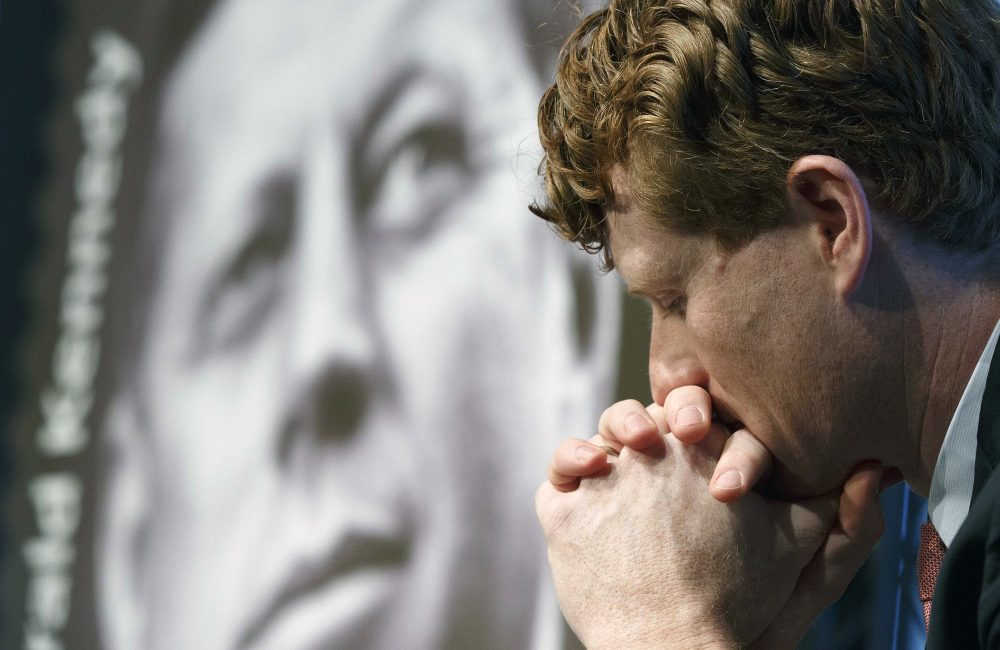 Rep. Joseph P. Kennedy III, D-Mass., listens during the dedication ceremony for the John F. Kennedy Centennial Stamp at the John F. Kennedy Library in Boston in February.  (Michael Dwyer/AP)