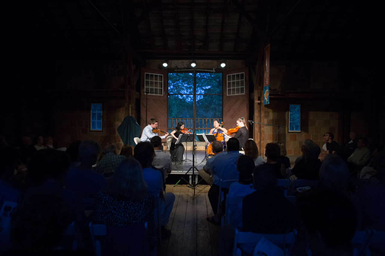 Musicians play in The Barn at Crane Beach for the Manchester Summer Chamber Music Fest. (Courtesy)
