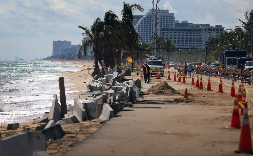 Cones mark off the damage caused by beach erosion along route A-1-A, making parts of it impassable to vehicles on Nov. 27, 2012, in Fort Lauderdale, Fla. (Joe Raedle/Getty Images)