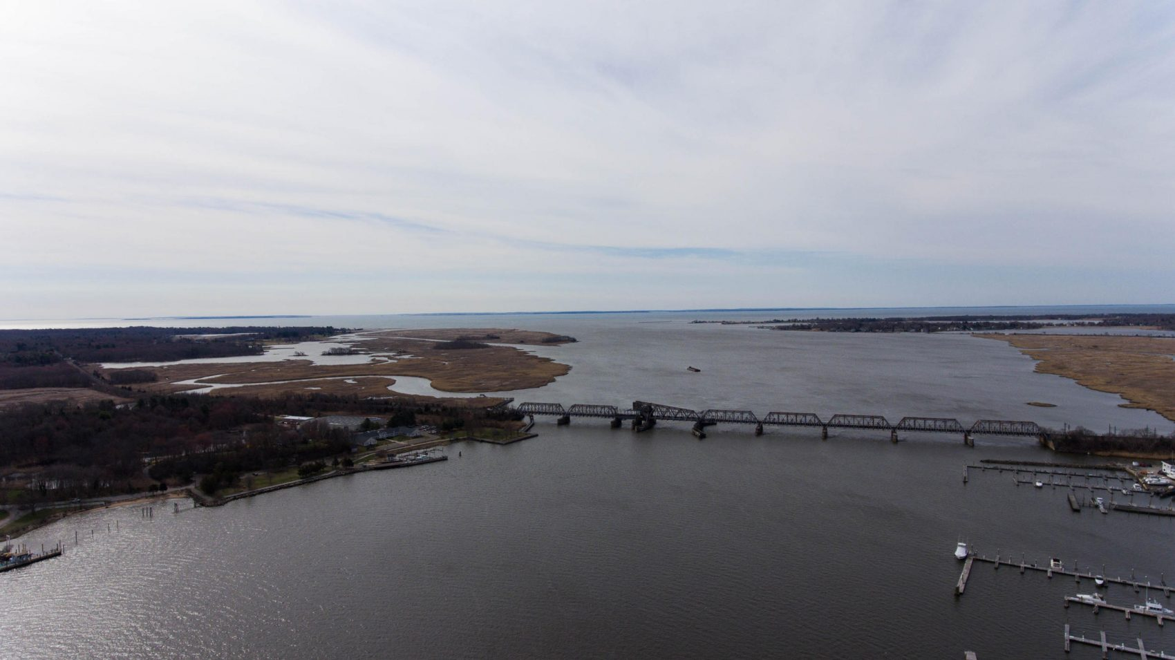 The mouth of the Connecticut River at Old Saybrook and Old Lyme, Conn. The Amtrak bridge is the last crossing before the river meets Long Island Sound. (Courtesy Ryan Caron King/NENC)