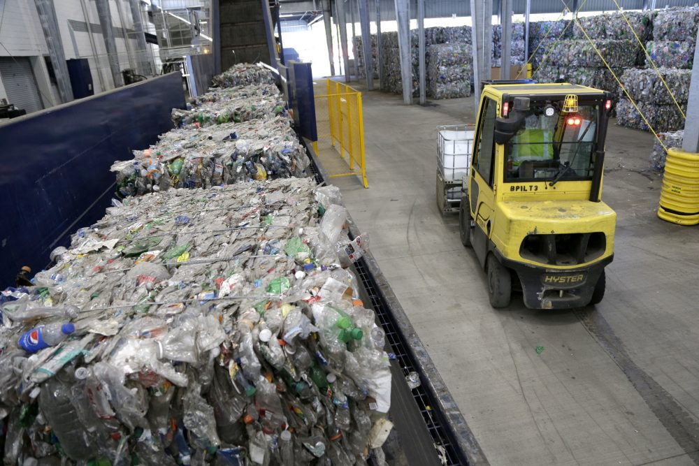 Recycled plastic bottles sit on a conveyor belt to be processed at the Repreve Bottle Processing Center in North Carolina. BU researchers are designing a robot that would sort recyclable material automatically. (Chuck Burton/AP)