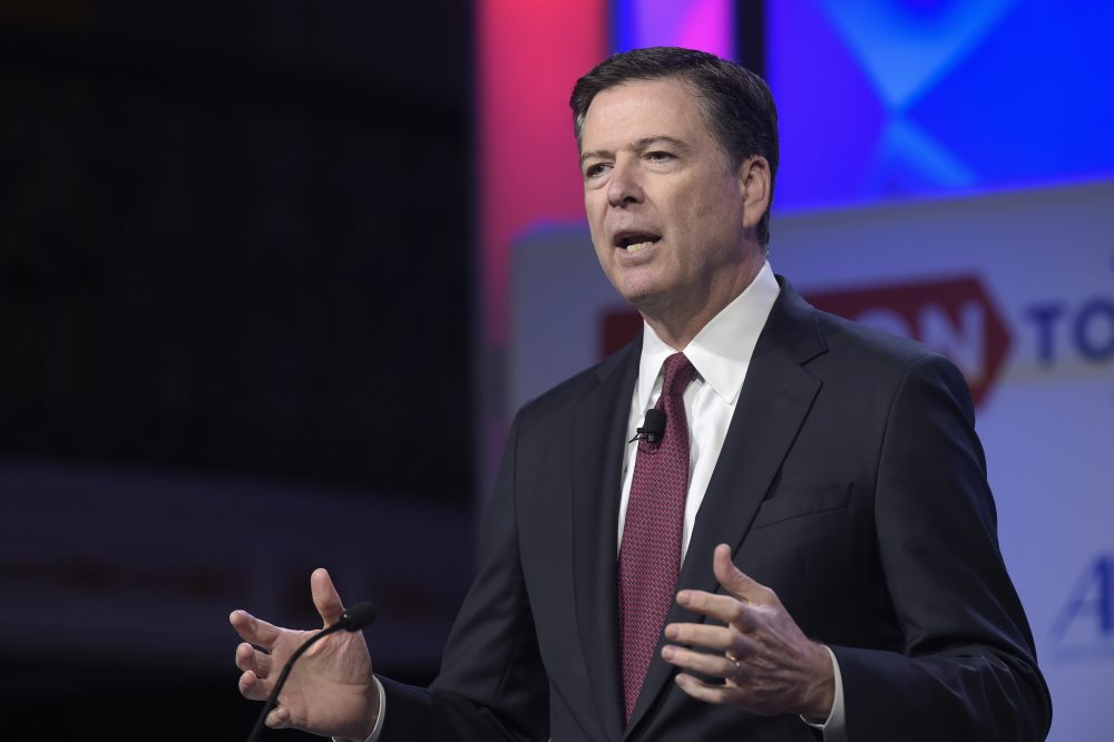 "In this photo taken May 8, 2017, FBI Director James Comey speaks in Washington. A person familiar with the investigation into Hillary Clinton's use of a private email server says Huma Abedin did not forward ""hundreds and thousands"" of emails to her husband's laptop, as FBI Director James Comey testified to Congress.  (AP Photo/Susan Walsh)"