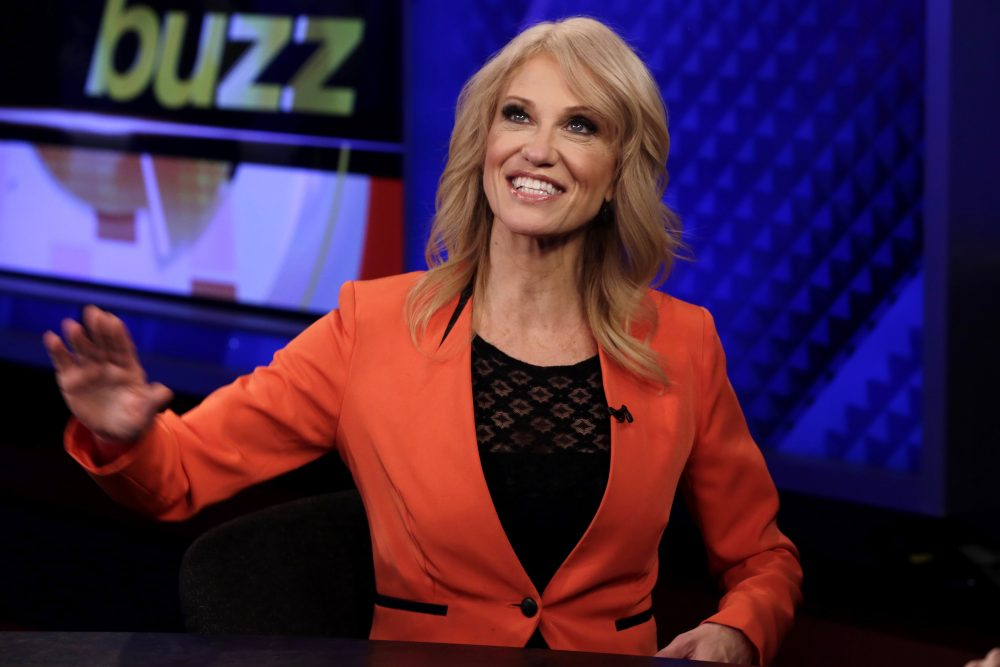 "The network, which markets itself as ""Fair and Balanced,"" is also dead-set against covering any of the scandals enveloping the Trump White House, writes Steve Almond. In this photo, counselor to the president Kellyanne Conway is interviewed by Howard Kurtz during a taping of his ""MediaBuzz"" program, on the Fox News Channel, in New York Friday, March 10, 2017. (Richard Drew/AP)"