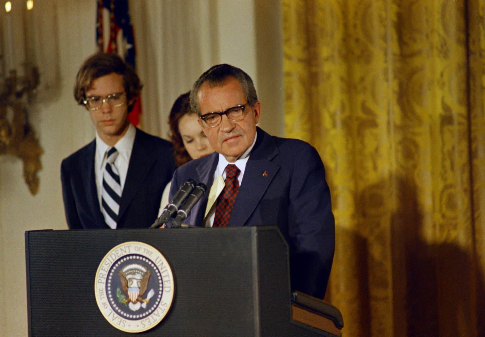 President Richard Nixon makes his farewell address to the White House staff, Aug. 9, 1974.  (AP)