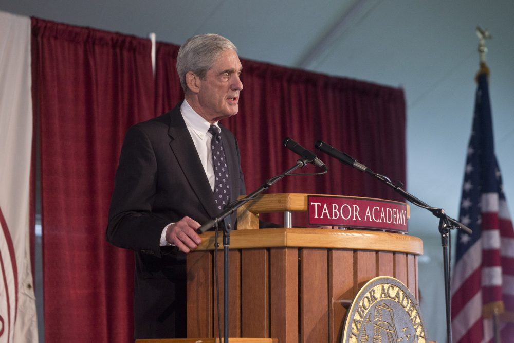 Robert Mueller speaking at Tabor Academy on Monday, May 29, 2017. (Courtesy Tabor Academy)