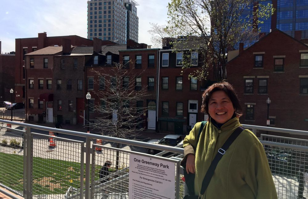 Writer and teacher Cynthia Yee overlooks Hudson Street, where she grew up, behind where the Pao Arts Center now exists. (Max Larkin/WBUR)