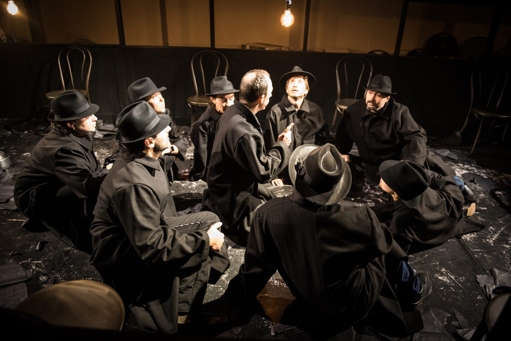 """The Arlekin Players during rehearsal for their latest production """"Dead Man's Diary: A Theatrical Novel."""" (Courtesy Irina Danilova)"""