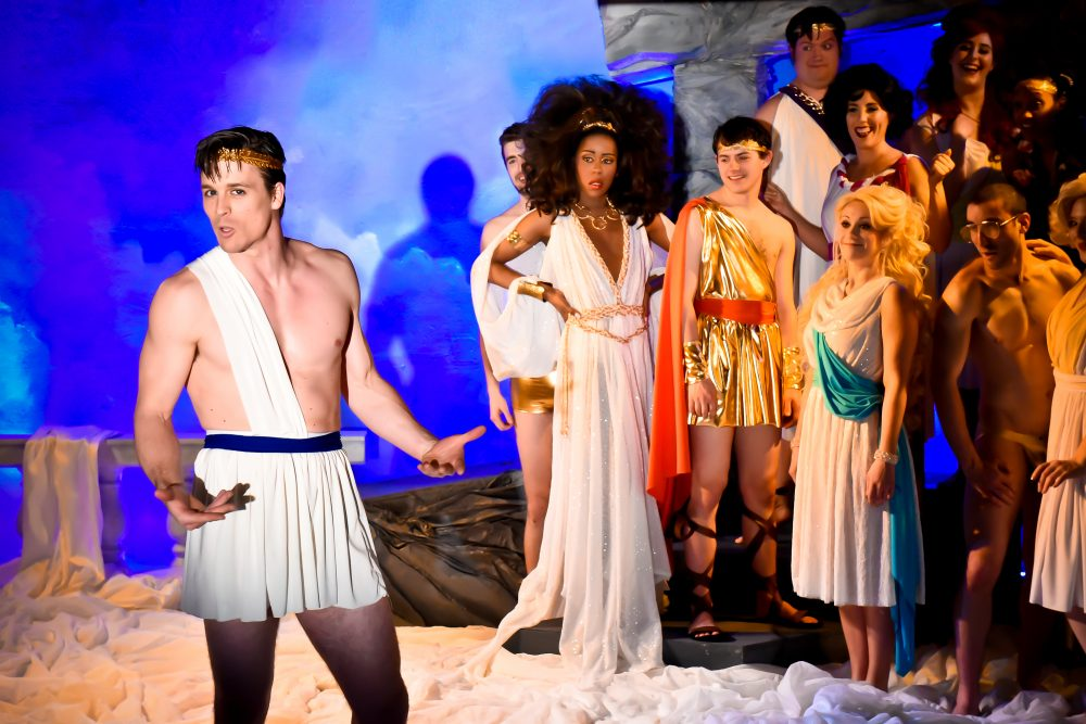 "Michael Underhill, as Icarus, with the cast of ""Greece."" (Courtesy Ryan Landry and the Gold Dust Orphans)"