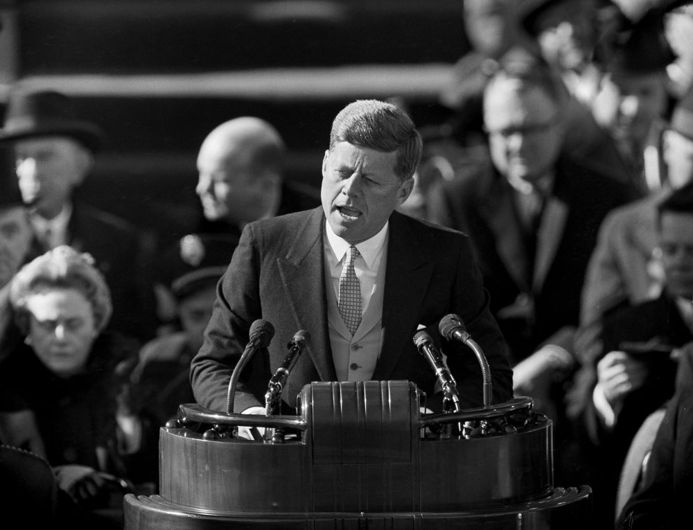 President John F. Kennedy delivers his inaugural address after taking the oath of office on Jan. 20, 1961. (AP File Photo)
