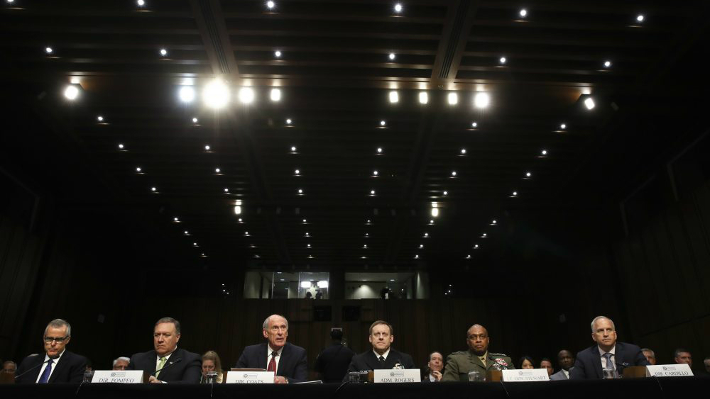 Trump fired Comey, hackers leaked Russian documents and Boston Children's Theatre staged a play with nudity. All that and more from Tom Keane's roundup of the week in the news. Pictured: From left, acting FBI Director Andrew McCabe, CIA Director Mike Pompeo, Director of National Intelligence Dan Coats, National Security Agency Director Adm. Michael Rogers, Defense Intelligence Agency Director Lt. Gen. Vincent Stewart, and National Geospatial-Intelligence Agency (NGA) Director Robert Cardillo, prepare to testify on Thursday, May 11, 2017, before the Senate Intelligence Committee. (Jacquelyn Martin/AP)