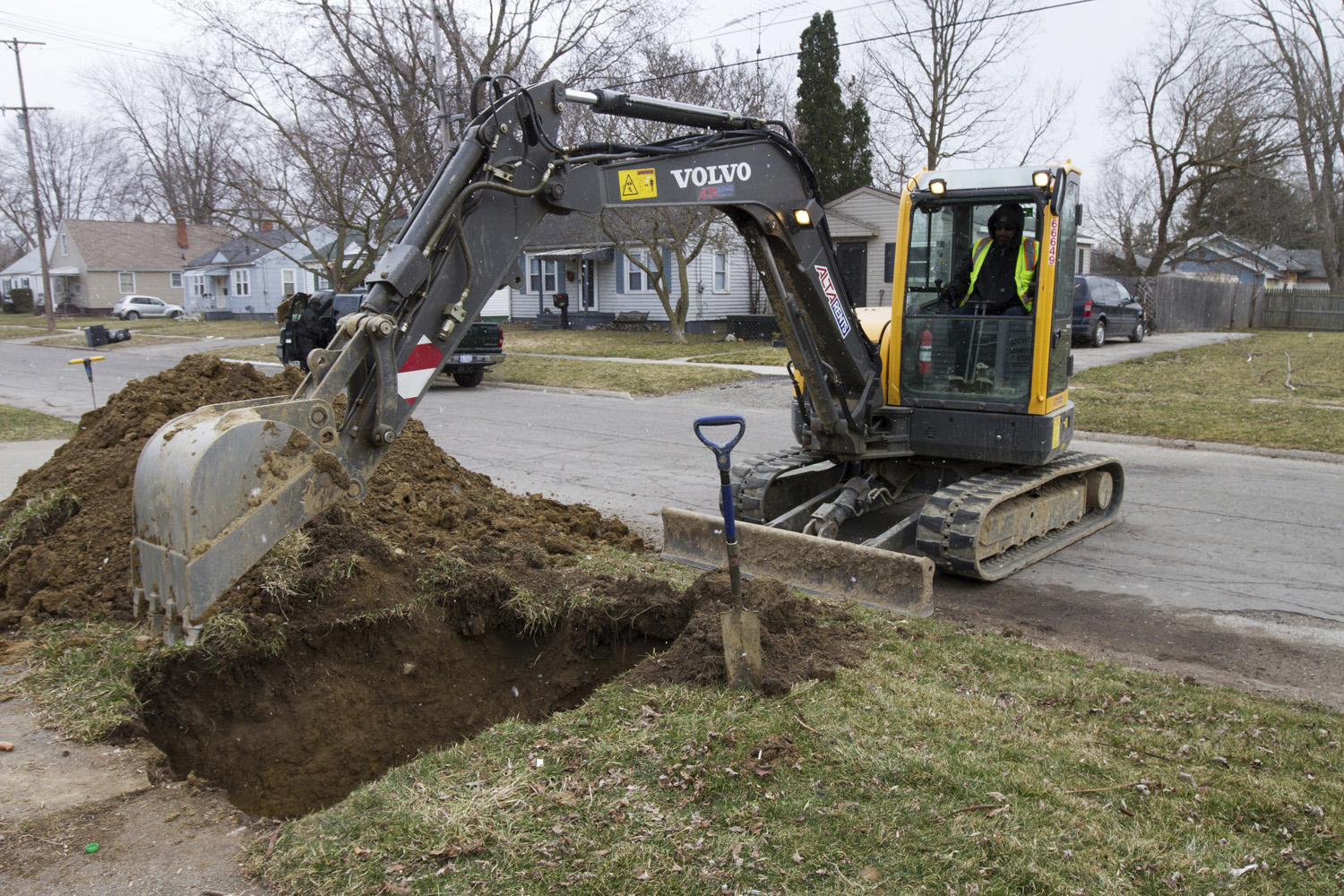 In a photo from March 10, 2017, work continues on the water replacement lines in Flint, Mich. (Chris Ehrmann/AP)