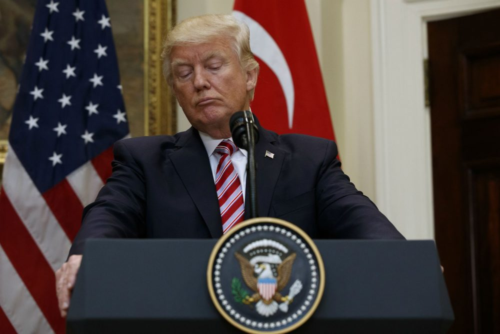 """What would Ma think of the bully-in-chief? Most of the words are unprintable, but the loudest is """"gavone,"""" the dialect version of """"cafone,"""" writes Marianne Leone. Pictured: President Donald Trump listens as Turkish President Recep Tayyip Erdogan speaks in the Roosevelt Room of the White House, Tuesday, May 16, 2017, in Washington. (Evan Vucci/AP)"""