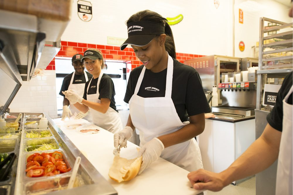 Low-wage workers, from fast-food to construction, are being asked to sign binding noncompete agreements. (Wikimedia Commons/Jimmy John's Franchise, LLC)
