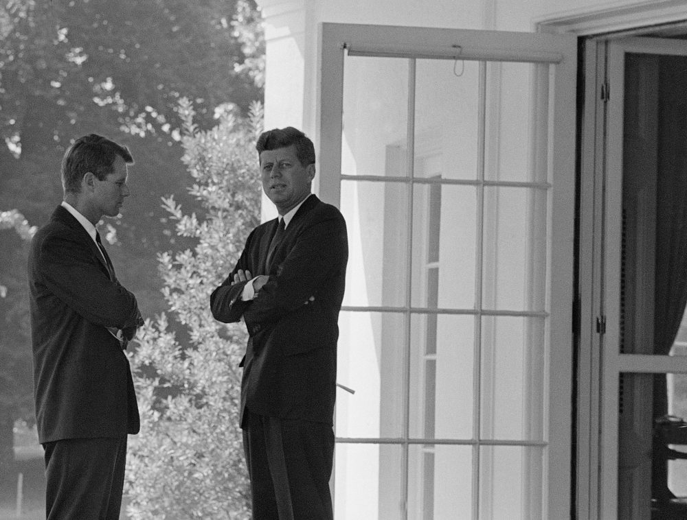 President John F. Kennedy, right, confers with his brother Attorney General Robert F. Kennedy at the White House on Oct. 1, 1962 during the buildup of military tensions between the U.S. and the Soviet Union that became Cuban missile crisis. (AP)