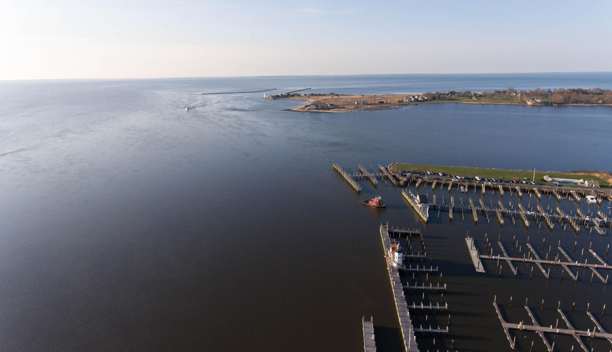 The Connecticut River, where it meets Long Island Sound in Old Saybrook, Connecticut, is seen on April 13. (Ryan Caron King/NENC)