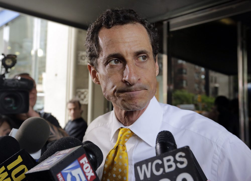 Former New York Rep. Anthony Weiner leaves his apartment building in New York on July 24, 2013. (Richard Drew/AP)