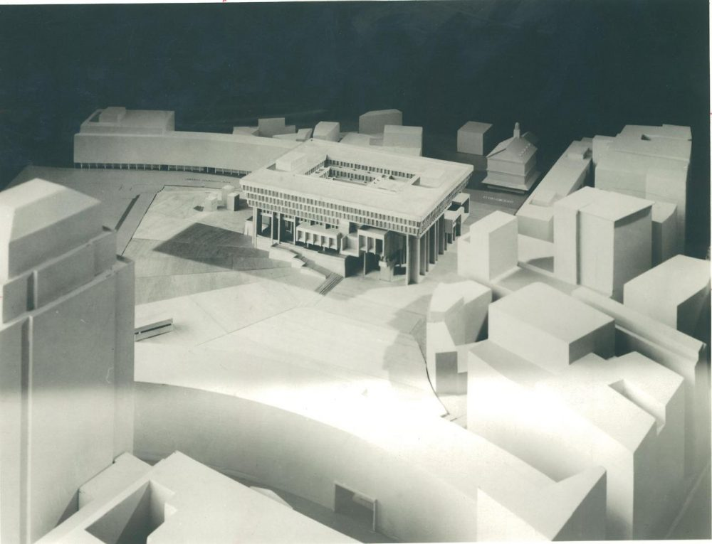 A rendering of City Hall from before it was built. (Boston City Archives)
