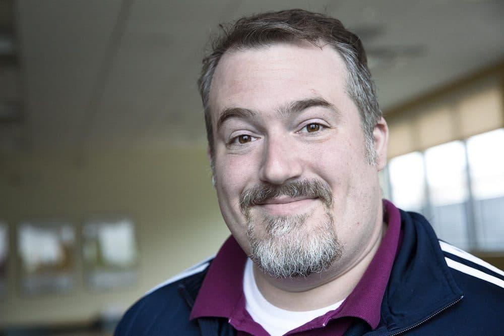Comic book scholar and author A. David Lewis at WBUR. (Robin Lubbock/WBUR)