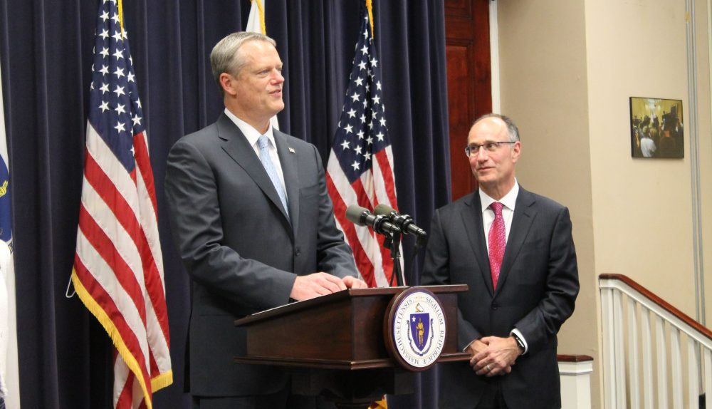 Gov. Charlie Baker announces the nomination of Appeals Court Chief Justice Scott Kafker to the state's highest court during a press conference on Monday. (Sam Doran/SHNS)