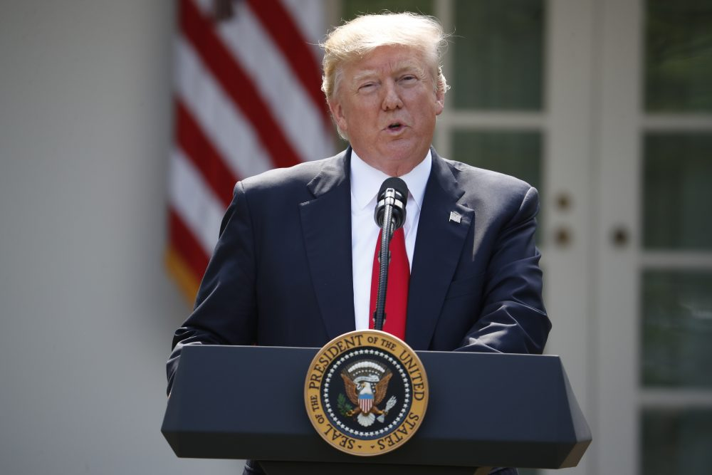 President Trump speaks about the U.S. role in the Paris climate change accord, Thursday, June 1, 2017, in the Rose Garden of the White House in Washington. (Pablo Martinez Monsivais/AP)