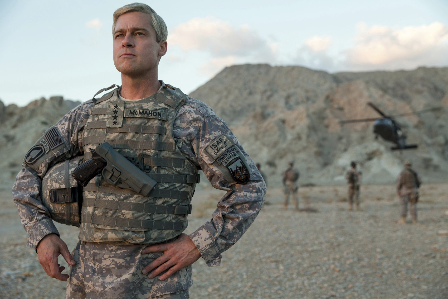 "This image released by Netflix shows Brad Pitt in a scene from ""War Machine."" (Francois Duhamel/Netflix via AP)"