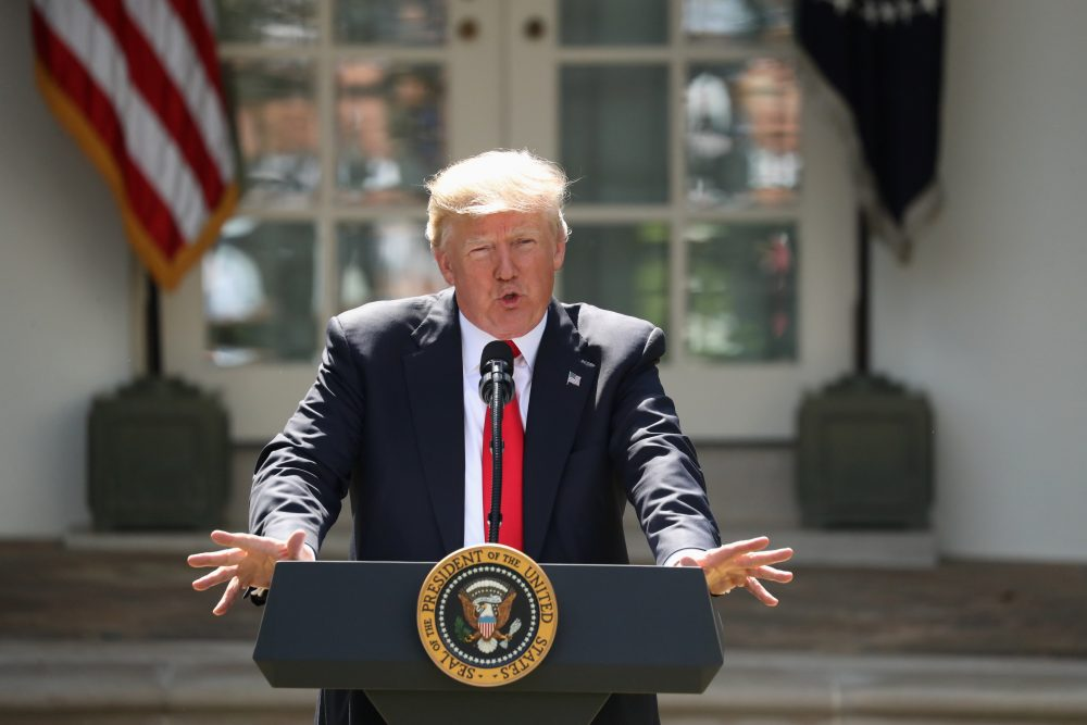 President Trump speaks about the U.S. role in the Paris climate change accord in the Rose Garden on Thursday in Washington. (Andrew Harnik/AP)