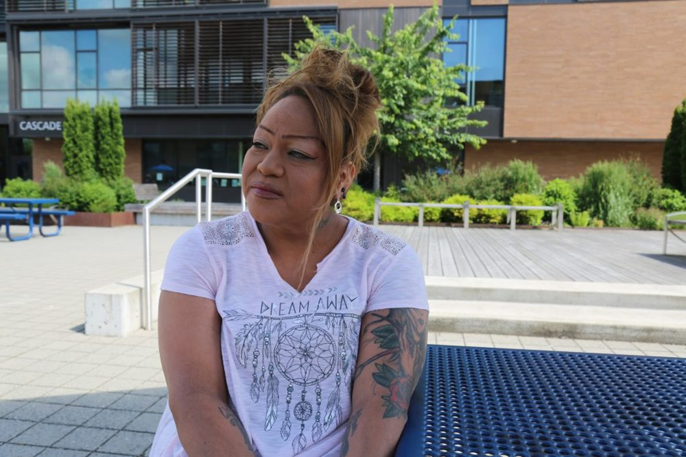 """Rachel Macy witnessed the knife attack on a Portland MAX train. """"Every time I have to take public transportation, just walking down the street, I realize I don't want to be noticed."""" (Molly Solomon/OPB)"""