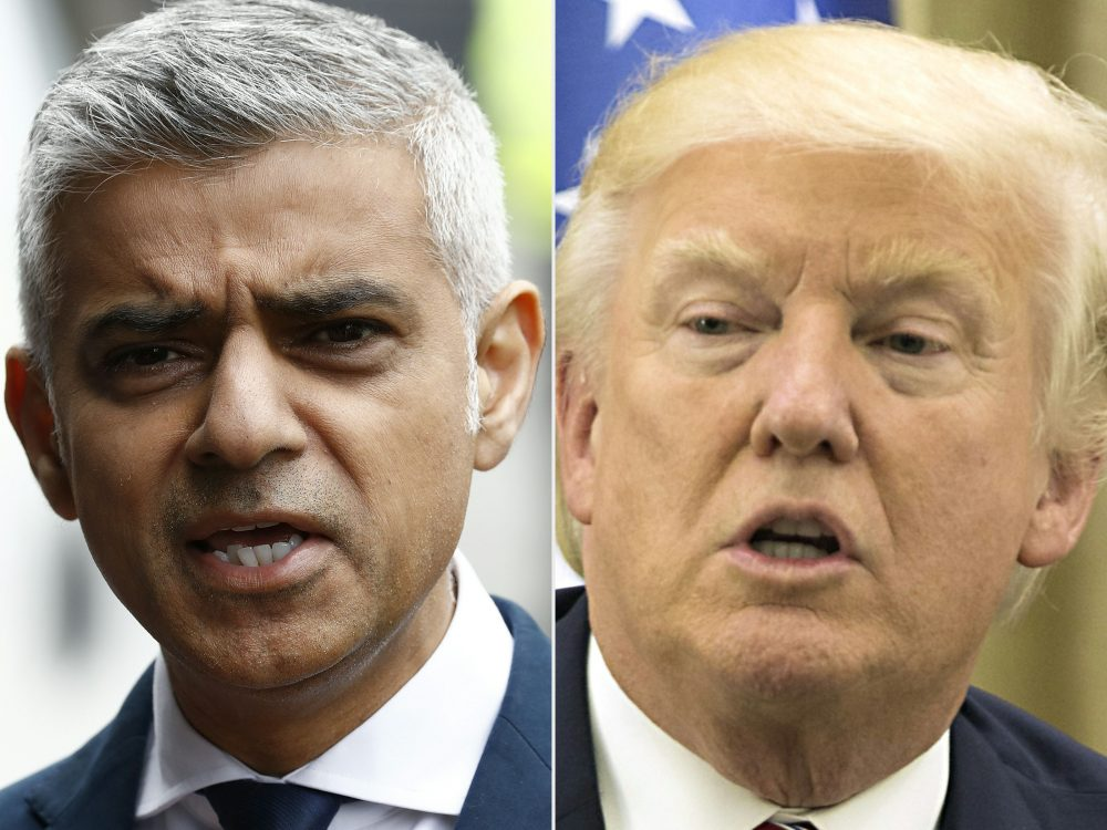 This combination of pictures shows Mayor of London Sadiq Khan after visiting Borough High Street in London on June 5, 2017, the site of the June 3 terror attack, near to Borough Market, and President Trump during his meeting with the Israeli president at his residence in Jerusalem on May 22, 2017. (Odd Andersen, Atef Safadi/AFP/Getty Images)