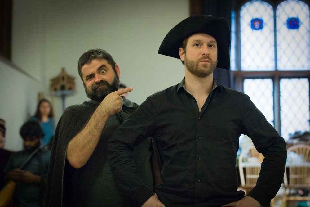"""Jason McStoots and Jesse Blumberg of the vocal cast in rehearsals for """"Le Carnaval de Venise."""" (Courtesy Kathy Wittman/BEMF)"""