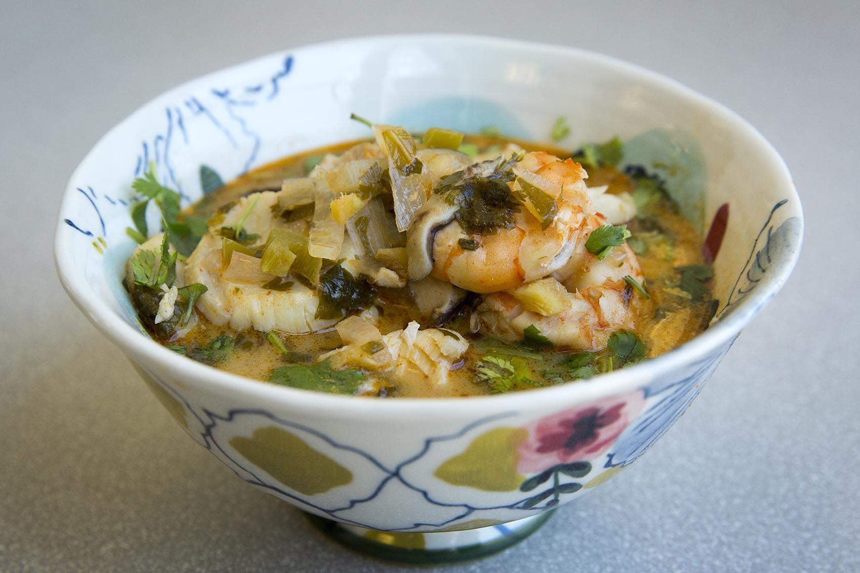 Kathy's Southeast Asian-style fish soup. (Robin Lubbock/WBUR)