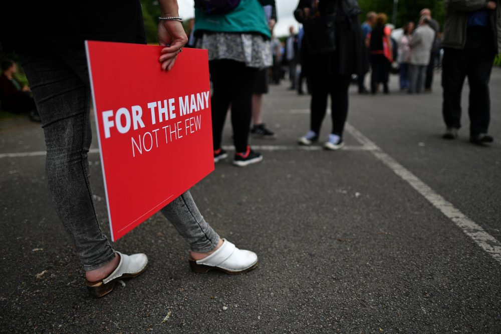 Supporters of Britain's main opposition Labour Party await the arrival of the party's leader, Jeremy Corbyn, at a general election campaign event in Reading, west of London, on May 31, 2017. (Ben Stansall/AFP/Getty Images)