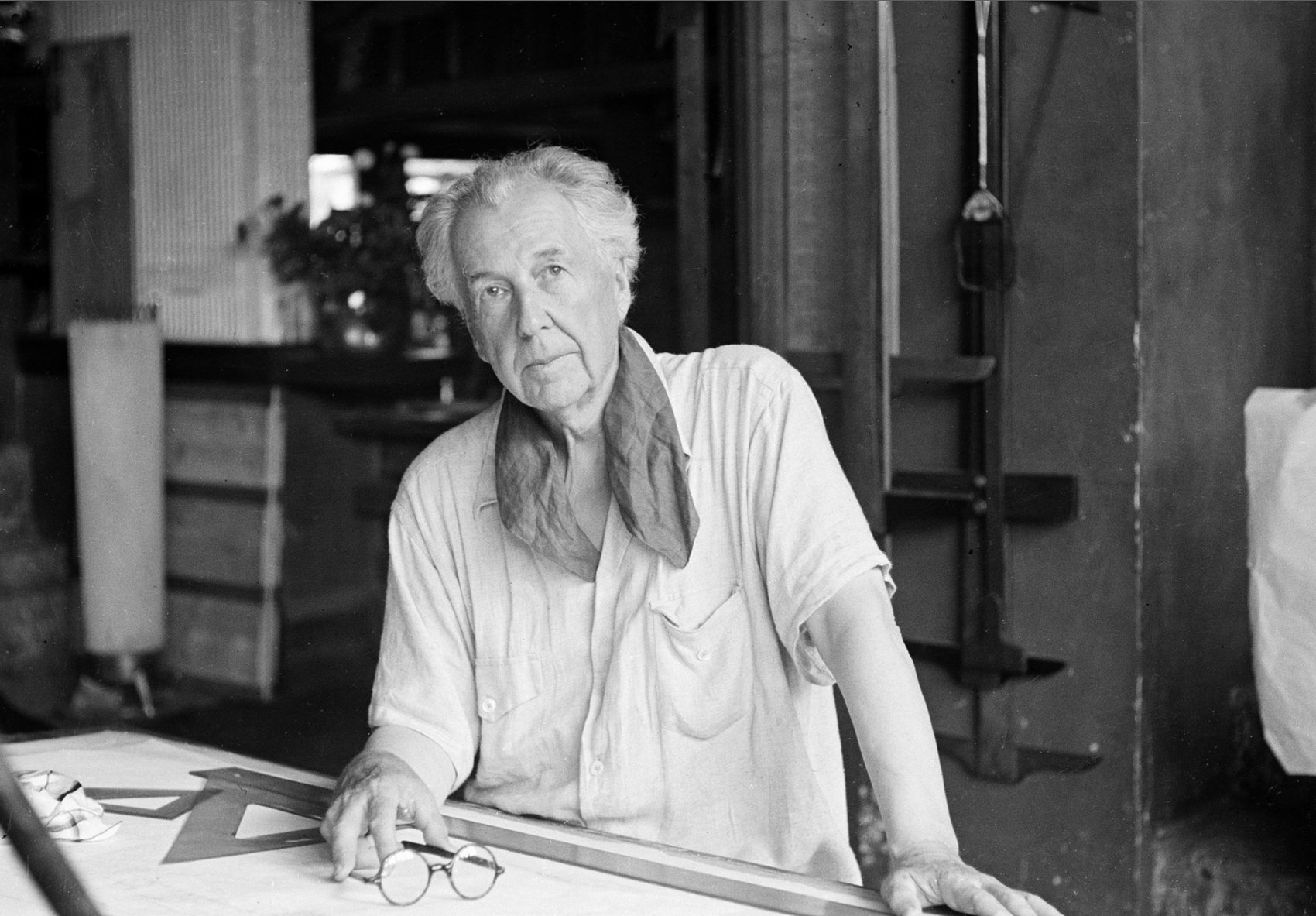 Frank Lloyd Wright, one of the greatest architects of the 20th century, is seen in his studio and home in Taliesin, Spring Green, Wis., in 1938. (AP)