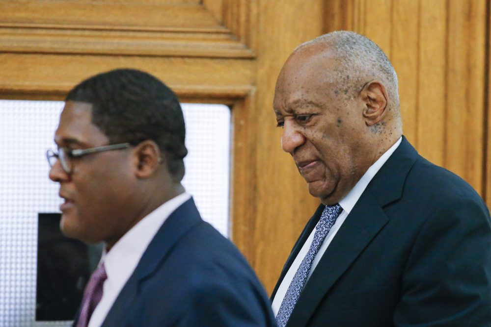 Actor Bill Cosby (right) and an aide arrive for Cosby's trial on sexual assault charges at the Montgomery County Courthouse on June 8, 2017 in Norristown, Penn. (Eduardo Munoz Alvarez-Pool/Getty Images)