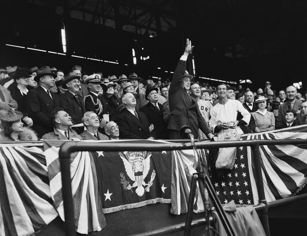 Once WWII began, President Franklin Roosevelt (shown above in 1940) stopped attending Opening Day at Washington's Griffith Stadium. But Major League Baseball continued. (AP)