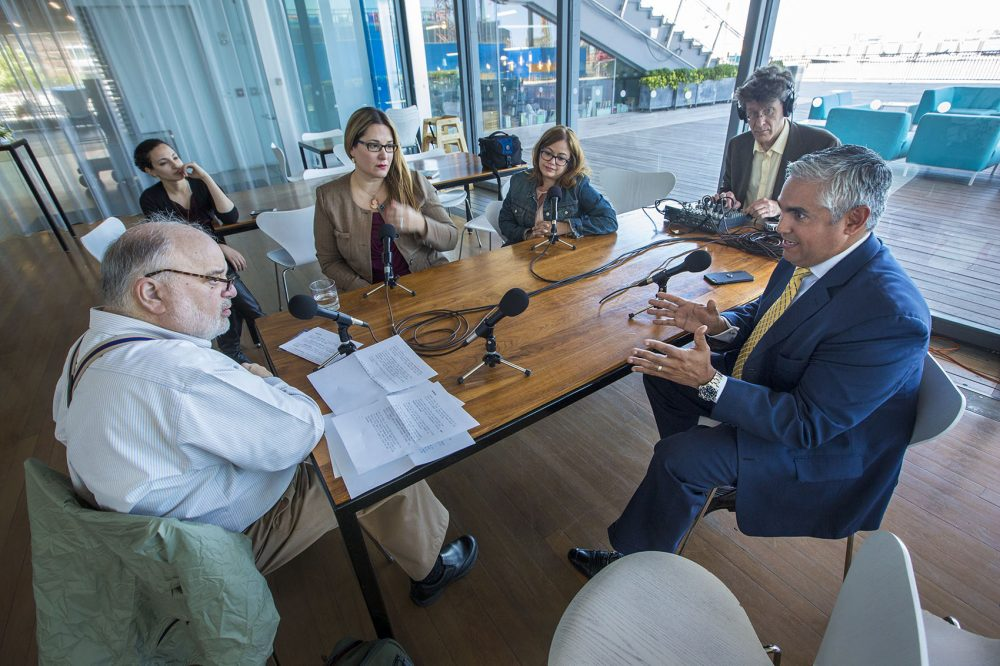 The Morning Edition roundtable about the upcoming statehood referendum in Puerto Rico is recorded at the Institute of Contemporary Art in Boston (Jesse Costa/WBUR)
