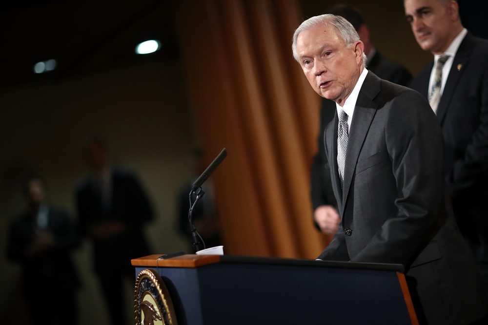 Attorney General Jeff Sessions speaks during an event at the Justice Department in May. (Win McNamee/Getty Images)
