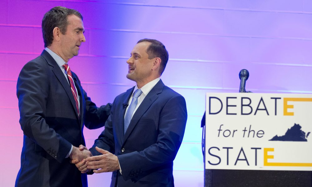 Democratic gubernatorial candidates Lt. Gov. Ralph Northam, left, and former Congressman Tom Perriello, right, shake hands after a debate in Richmond, Va., in May. (Steve Helber/AP)