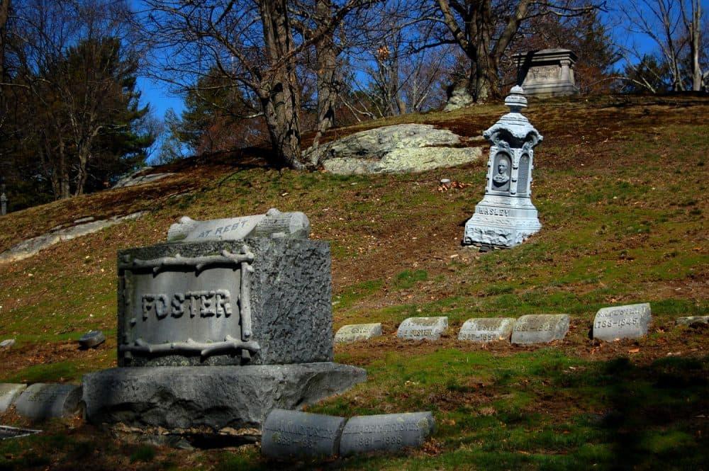 "The grave of ""hero"" Bertie Wasley at Medford's Oak Grove Cemetery. (Greg Cook/WBUR)"