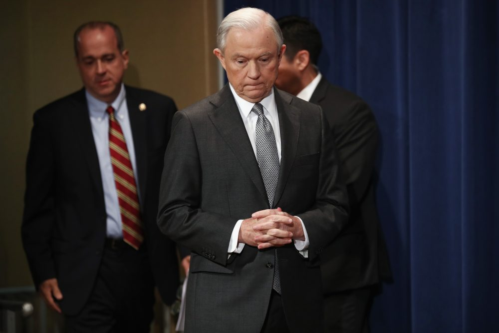 U.S. Attorney General Jeff Sessions attends the Sergeants Benevolent Association of New York City event on May 12, 2017 in Washington. (Win McNamee/Getty Images)