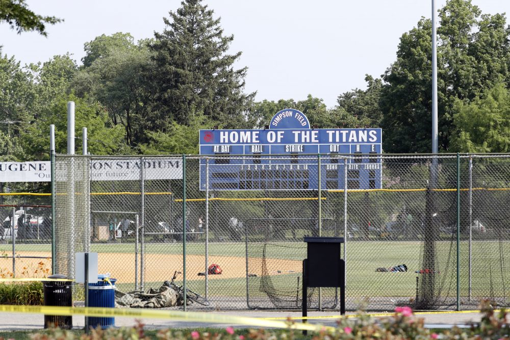 The baseball field that is the scene of a shooting in Alexandria, Va., Wednesday, June 14, 2017, where House Majority Whip Steve Scalise of La. was shot at a congressional baseball practice. (Alex Brandon/AP)