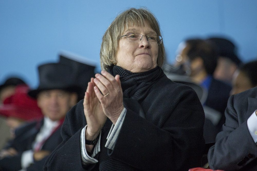 Harvard University President Drew Faust at this year's commencement ceremony. (Jesse Costa/WBUR)