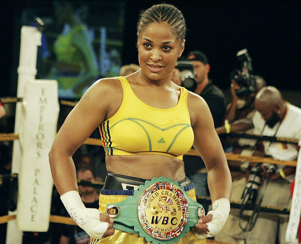 Lalia Ali (USA) poses with the WBC/WIBA Super Middleweight World Title belt after defeating Gwendolyn O'Neil (Guyana) in Johannesburg, South Africa. (Lefty Shivambu/Gallo Images)