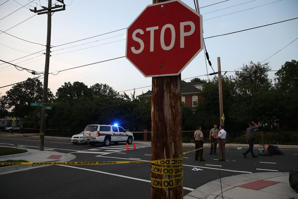 E. Monroe Ave. remains closed in front of the Eugene Simpson Field, the site where a gunman opened fire June 15, 2017 in Alexandria, Virginia. Multiple injuries were reported from the instance, the site where a congressional baseball team was holding an early morning practice, including House Majority Whip Steve Scalise, who was shot in the hip. (Mark Wilson/Getty Images)