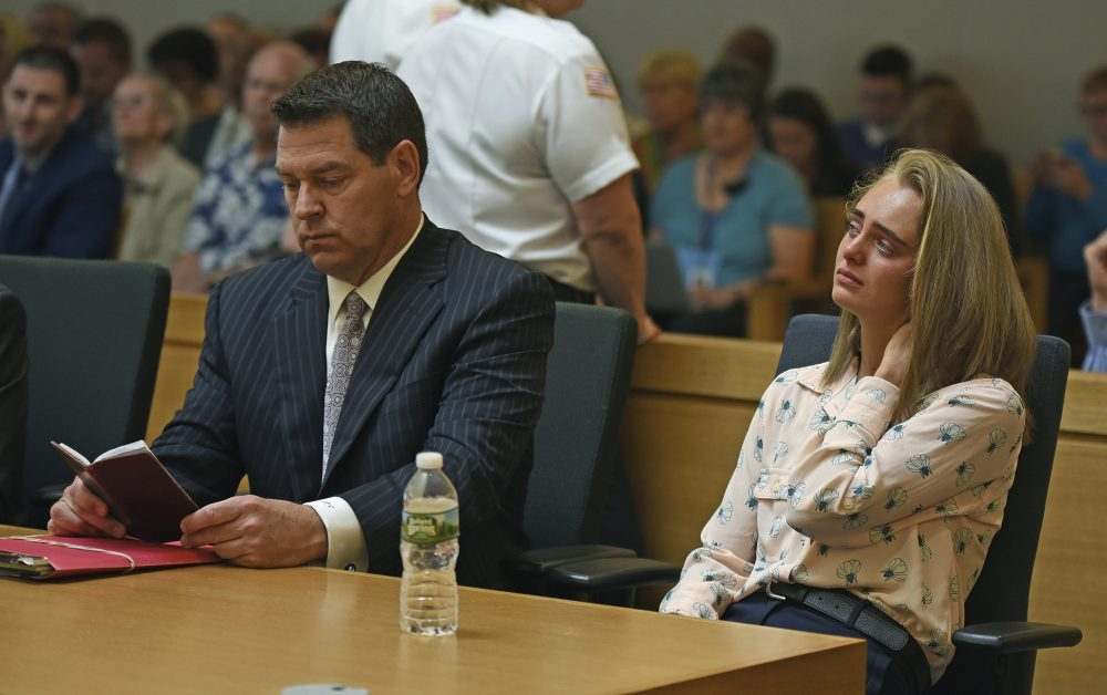 Michelle Carter listens as a date is set for her sentencing hearing in August after she was found guilty of involuntary manslaughter in the suicide of Conrad Roy III. (Glenn Silva/Fairhaven Neighborhood News, Pool)