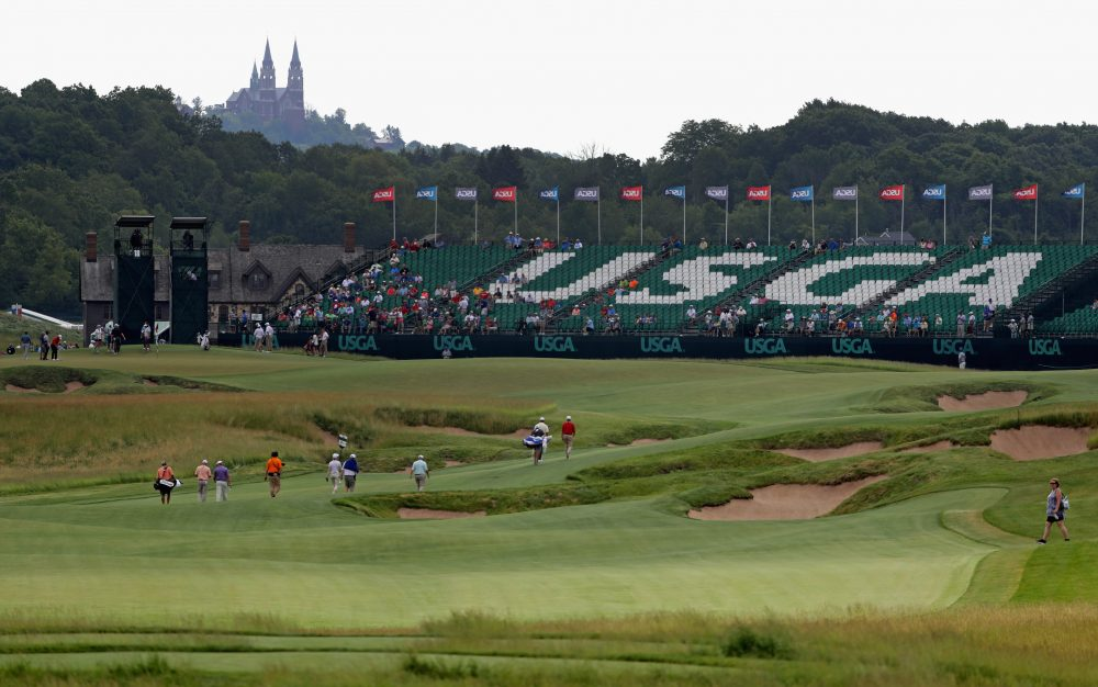 A general view of the course during a practice round prior to the 2017 U.S. Open at Erin Hills on June 14, 2017, in Hartford, Wisc. (Streeter Lecka/Getty Images)