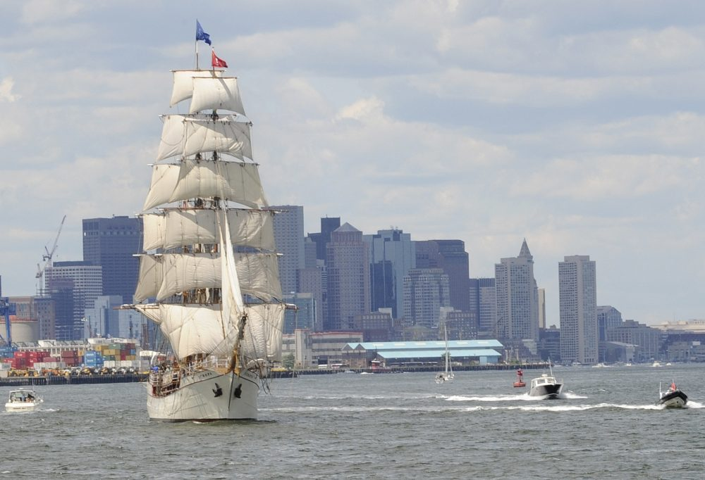 The barque Europa, of the Netherlands, departs Boston following Sail Boston in 2009. (Lisa Poole/AP)