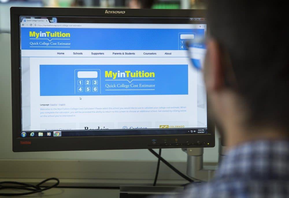 MyinTuition's college cost estimator page. (Robin Lubbock/WBUR)